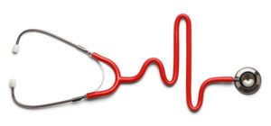 Stethoscope in the shape of a Heart Beat on a EKG.